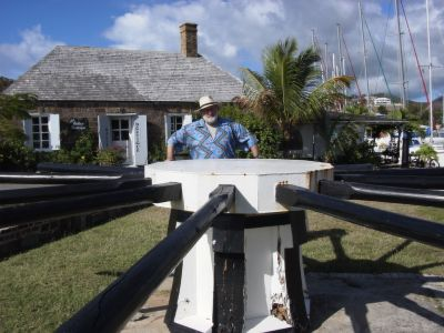 Manning the capstan at the historic dockyard in Antigua, on location research for 'Seaflower'